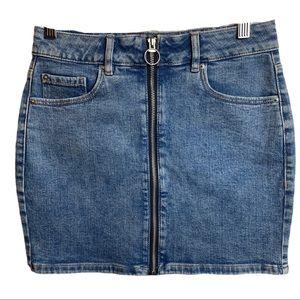 Garage Y2K Vibes Front Zip Jean Mini Skirt Sz Sm